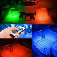 aksesoris acc mobil interior lampu led 4 warna ada remot murah bagus