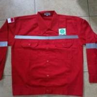 Baju Kerja Safety Plus Logo / Baju Proyek / Seragam Safety Merah