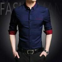 Kemeja Pria Lengan Panjang / HEM Distro Polos   Baju Grosir Atasan Kan