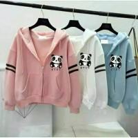 jaket wanita hoodie hoody panda jacket outer luaran anak anak remaja