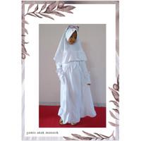 baju muslim anak perempuan manasik gamis anak putih 4 - 10 th ralita