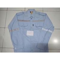 Baju Kerja Safety / Baju Proyek / Seragam Safety Biru Telor Asin