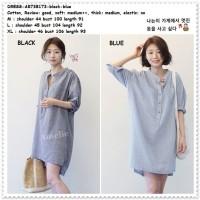 AB738173 Mini Dress Kemeja Garis Wanita Long Blouse Korea Import Tunik
