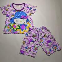 "Baju Anak LED ""HELLO KITTY TOPI"" - Baju Tidur anak - small, Merah Muda"