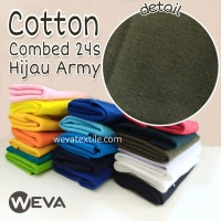 Kain Katun Cotton Combed 24s Bahan Kaos Hijau Army Meteran