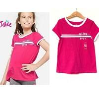 Baju kaos pendek anak perempuan branded original Justice pink logo ori