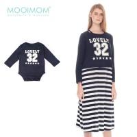 Mooimom Long Sleeve Number 32 Set Baju Hamil & Menyusui Couple - Navy