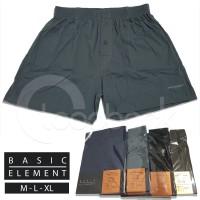 Celana Boxer Pria Basic Element BE - 112 | M,L,XL 100% Cotton Premium