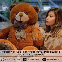 Boneka Teddy Bear Jumbo 1 Meter Pita Polkadot COKLAT ORANGE