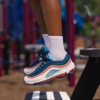 Nike Air Max 97 Swoosh Chain Blue Sneaker Sepatu Jalan Pria Wanita