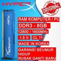 RAM KINGSTON HYPERX FURY GAMING DDR3 8GB 1600MHz 12800 RAM PC DDR3 8GB