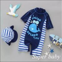 Baju Renang Anak Laki Laki OnePices Blue Whale / Motif Paus Biru Set