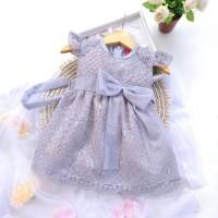 (6 bulan-7 tahun) ANT 18 Baju Dress Anak Labella Anita Brukat Grey