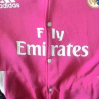 Jaket Varsity Baseball Real Madrid Pink Lengan Putih FL grab it fas