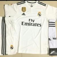 Setelan Stelan Jersey Kaos Kaki Baju Celana Bola Real Madrid Home P