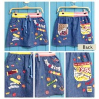 Rok Mini Denim Jeans Anak Remaja Emblem Rough Japan Import
