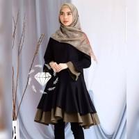 Tunik cantika hitam baju muslim remaja kuliah gaul pesta tunic bea at
