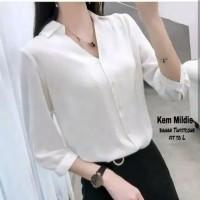 kemeja putih atasan hem shirt blouse polos white wanita formal kantor