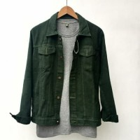 JAKET JEANS DENIM FOR MEN AND WOMEN GREEN ARMY