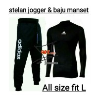 Stelan jogger dan baju manset pria panjang adidas hitam