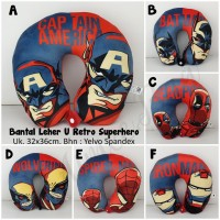 Bantal Leher U / Neck Pillow Retro Superhero
