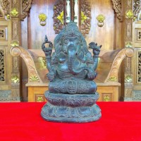 Patung Pajangan Arca Miniatur Perunggu Ganesha Hitam