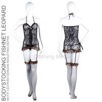 Bodystocking Fishnet Resleting Baju Stoking Garter Set Renda Bunga