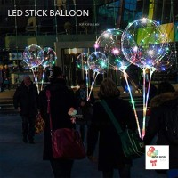 SET LED BALON STIK CUP – RAINBOW BOBO BUBBLE Transparan
