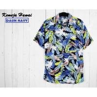 FortKlass Kemeja Hawai Bali Pria Motif DAUN Kemeja Pantai Cowok