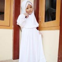 Baju Muslim Stela Putih Gamis anak Perempuan untuk Manasik