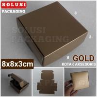 KOTAK AKSESORIS 8X8 GOLD/BOX/TEMPAT SOUVENIR/PILLOW BOX/KOTAK KADO