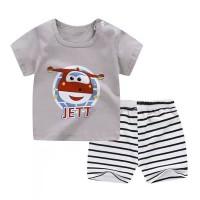 Baju anak bergambar helikopter/setelan kaos santai +celana