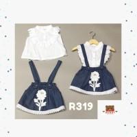Baju Bayi Perempuan Terusan Kodok Jeans Bunga RENDY R319