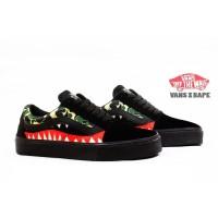 Sepatu Sneakers Kasual SKate Vans Bape Army Waffle DT Hitam