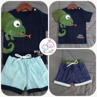 [Rei & Rin] Setelan Baju Anak Laki-Laki/Baju Bergambar Iguana-Dongker