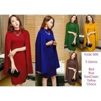 cape dress terusan baju wanita pesta party modern import scuba korea