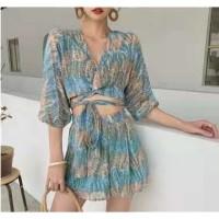 SUMMER SET Pakaian Wanita Set Beachwear Summer Celana Pantai Crop Top