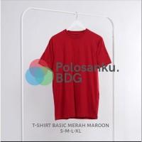 Kaos Polos Baju Oblong Merah Maroon Combed 30's Pria Wanita S M L XL