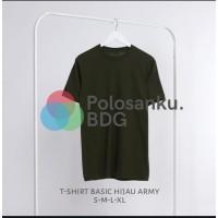 Kaos Polos Baju Oblong Hijau Army Combed 30's Pria Wanita Unisex