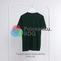 Baju Kaos Polos Oblong Hijau Botol Green Forest Combad30s Cewek Cowok - KAOSPLS HIJAUBT, S