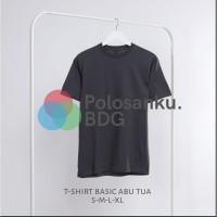 Kaos Polos Baju Oblong Abu Tua Combed 30's Pria Wanita-Size S M L XL-