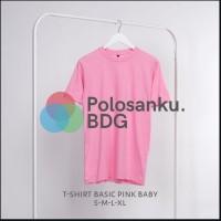 Kaos Polos Baju Oblong Pink Baby Combed 30's Pria Wanita S M L XL