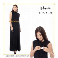 Baju Hamil Dress Manset Menyusui Hitam Gamis Daleman Inner Busui Black