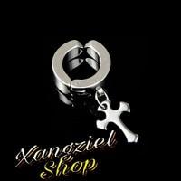 Anting Tanpa Tindik (Jepit) Salib Titanium Steel Cross Earrings Clip