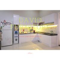 kitchen set minimalis modern granit dengan HPL aica di pik