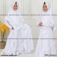 baju muslim anak perempuan/gamis anak perempuan remple putih size 1-5