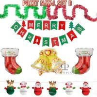 Paket Dekorasi Balon Foil Natal / Merry Christmas - Set B