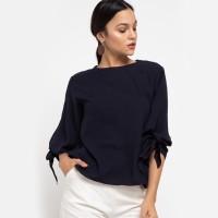 KORZ Atasan Wanita / Bow Sleeve Blouse Dark Navy
