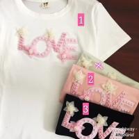 Baju Kaos Katun Motif LOVE / T shirt Import Atasan Wanita / T-shirt