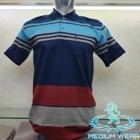 Kaos Kerah Polo Salur / Kaos Kerah Wangki Salur / Poloshirt - Biru Muda, L